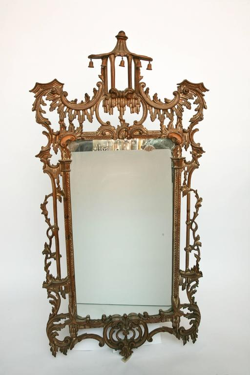 Elegant Chinoiserie Mirror With Pagoda Crown At 1stdibs