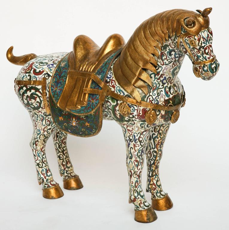 Chinese Enormous Cloisonné Figure of a Horse For Sale