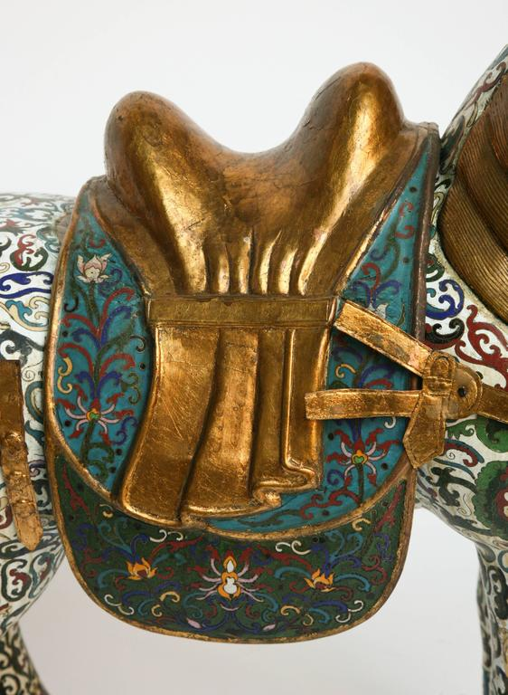 20th Century Enormous Cloisonné Figure of a Horse For Sale