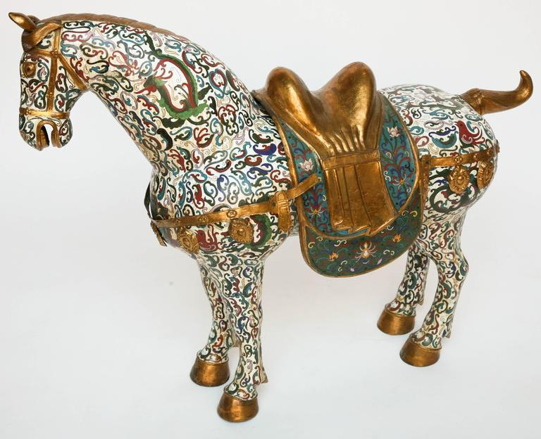 Enormous Cloisonné Figure of a Horse For Sale 2