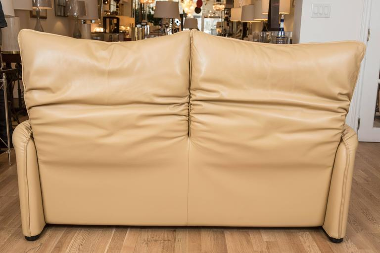 Italian Maralunga Two-Seat Sofa in Leather by Vico Magistretti for Cassina of Italy For Sale