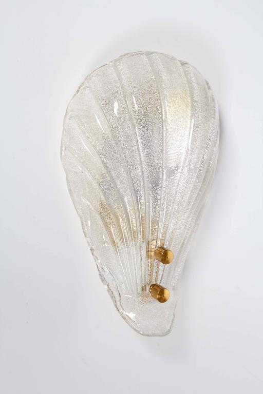 Mid-Century Modern Pair of Murano Shell Glass Sconces by Barovier & Toso For Sale