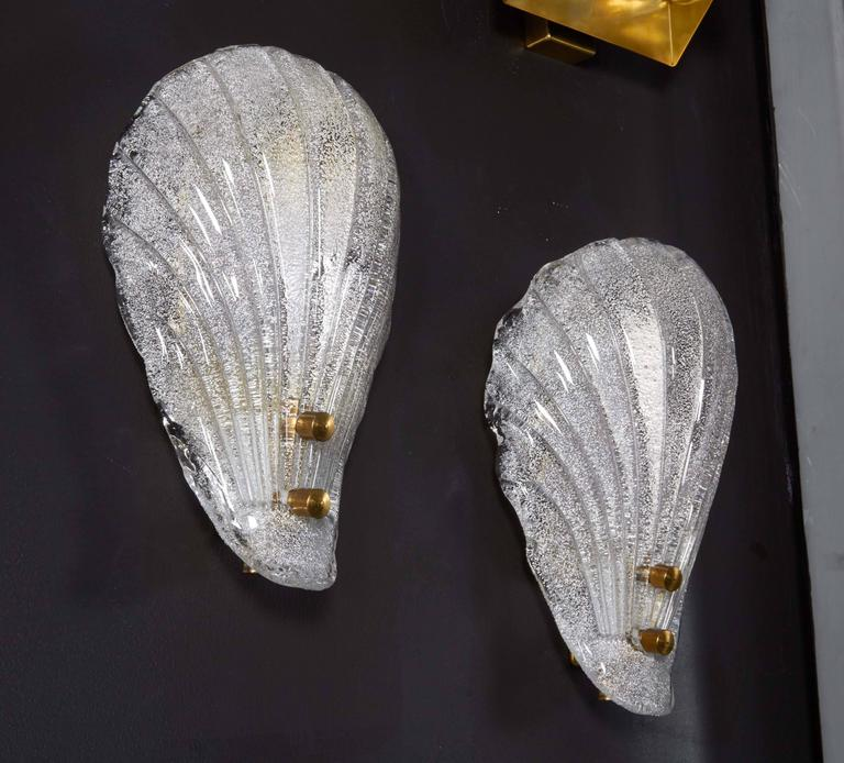 Pair of Murano Shell Glass Sconces by Barovier & Toso For Sale 1