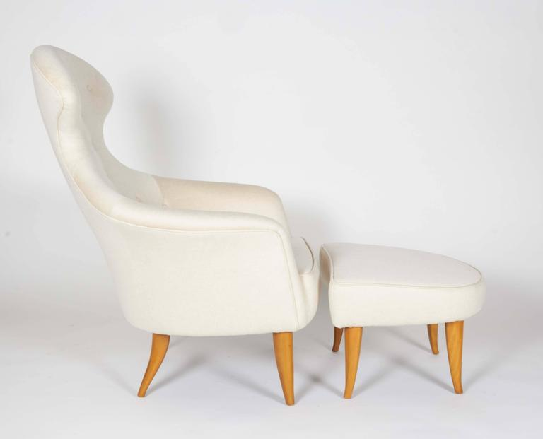 One of a series of chairsKerstin Hörlin-Holmquist designed which included the Adam and the fig leaf. A unique and wonderfully comfortable chair. Rare to be found with ottoman.
