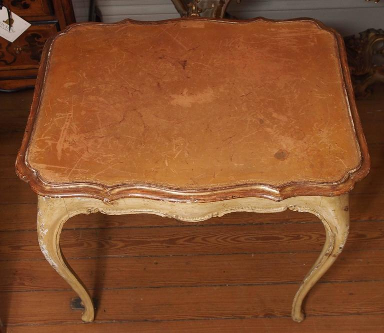 Italian Painted Occasional Table with Leather Top In Good Condition For Sale In New Orleans, LA