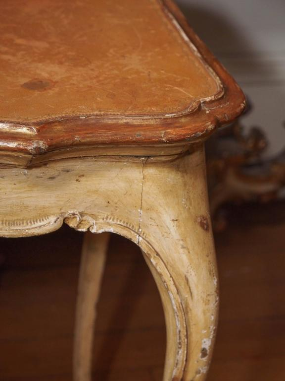 19th Century Italian Painted Occasional Table with Leather Top For Sale