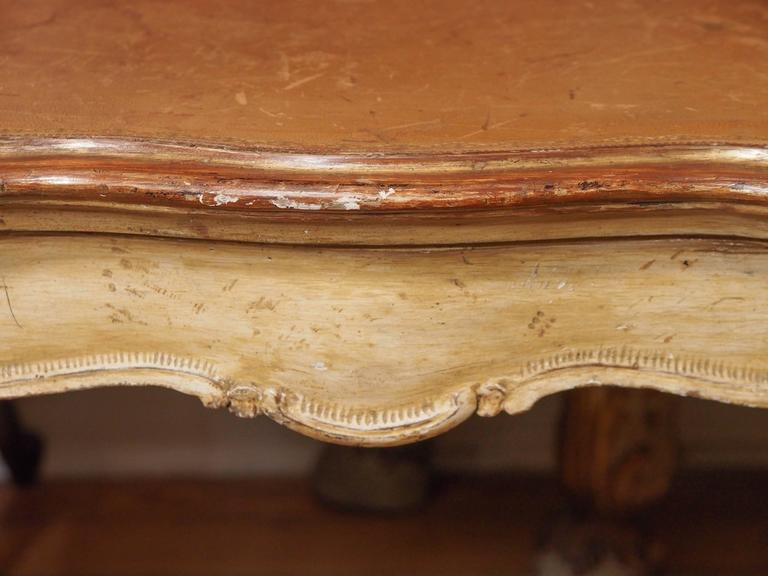 Italian Painted Occasional Table with Leather Top For Sale 2