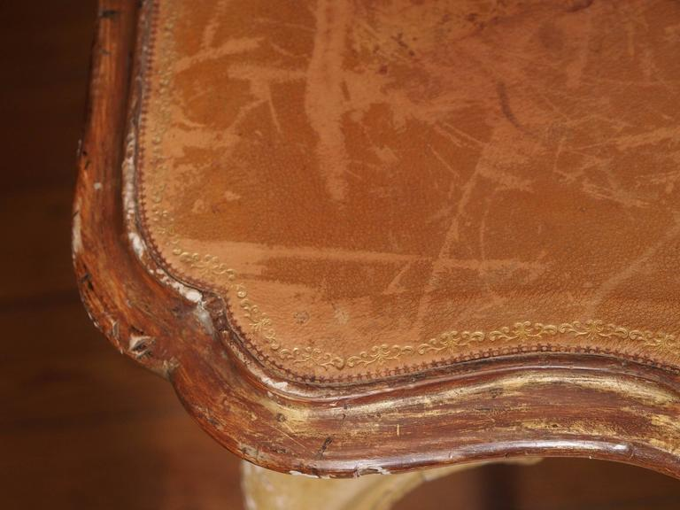 Italian Painted Occasional Table with Leather Top For Sale 3