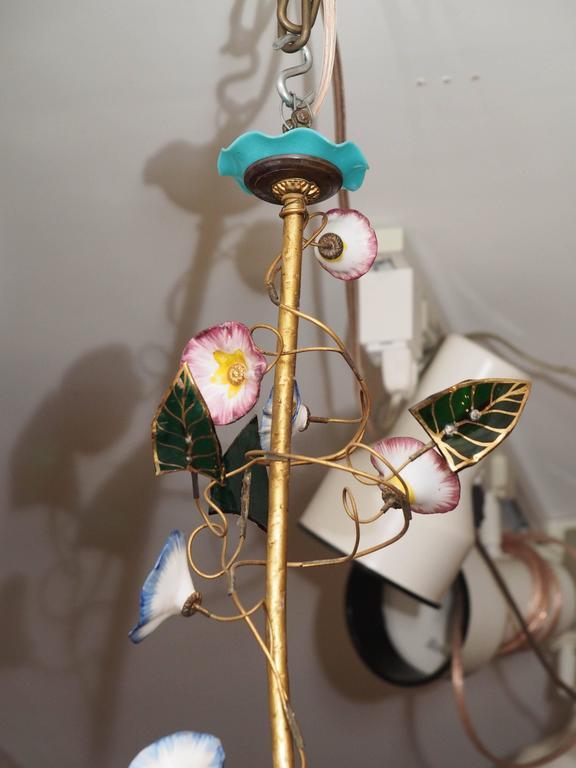 French Napoleon III Opaline Glass Chandelier 2