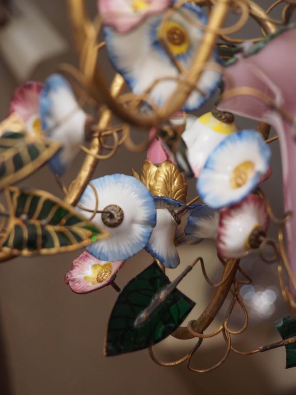 French Napoleon III Opaline Glass Chandelier 5