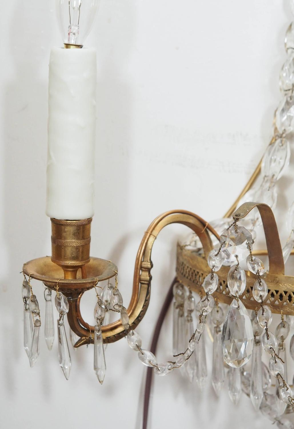 Pair of Italian Empire Style Brass and Crystal Wall Sconces at 1stdibs