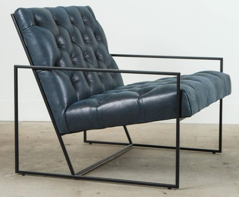 Tufted Thin Frame Lounge Chair By Lawson Fenning In Navy Leather And Matte  Black Powder