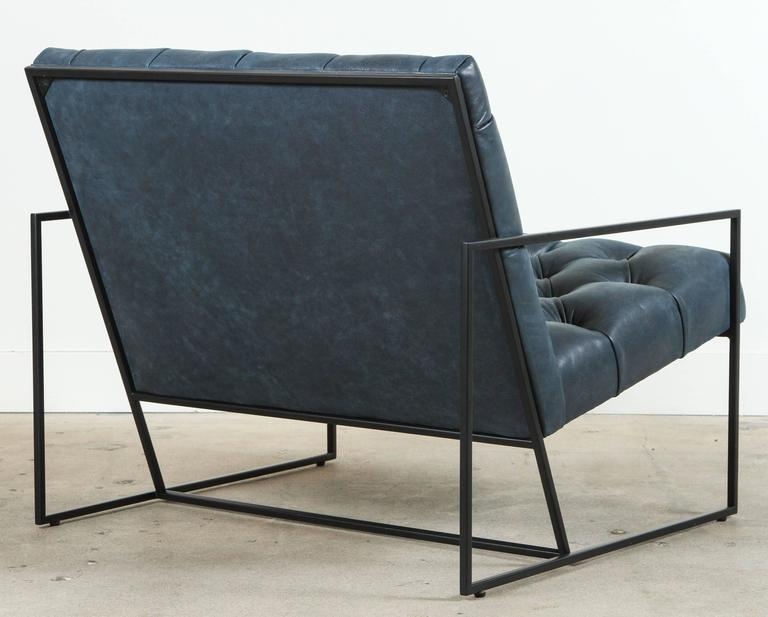 Diamond Tufted Thin Frame Lounge Chair by Lawson-Fenning In Excellent Condition For Sale In Los Angeles, CA