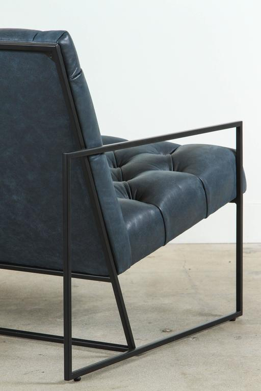 Contemporary Diamond Tufted Thin Frame Lounge Chair by Lawson-Fenning For Sale