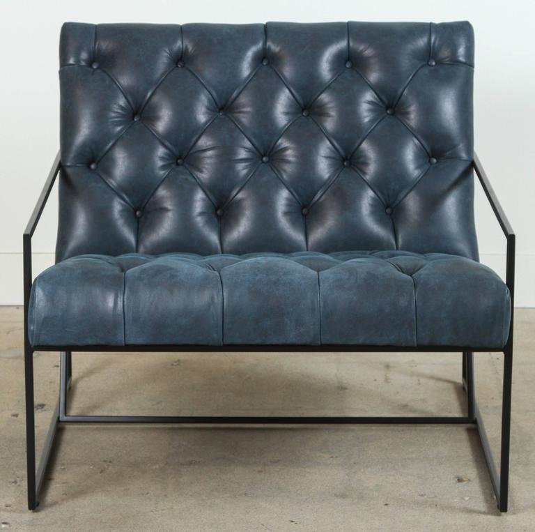 Steel Diamond Tufted Thin Frame Lounge Chair by Lawson-Fenning For Sale