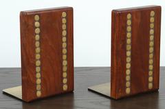 Teak and Ceramic Bookends by Martz