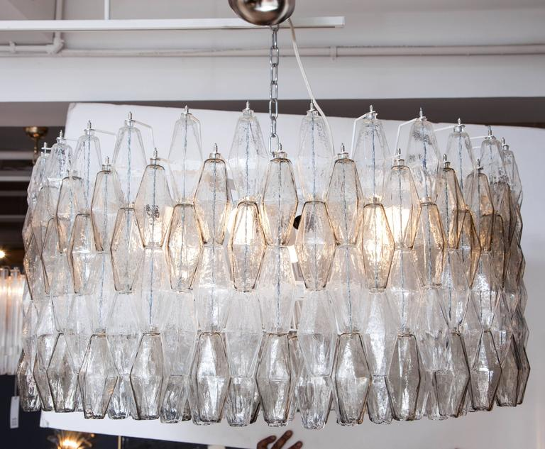 Large Venini Style Clear and Smoked Taupe Polyhedral Murano Glass Chandelier 2