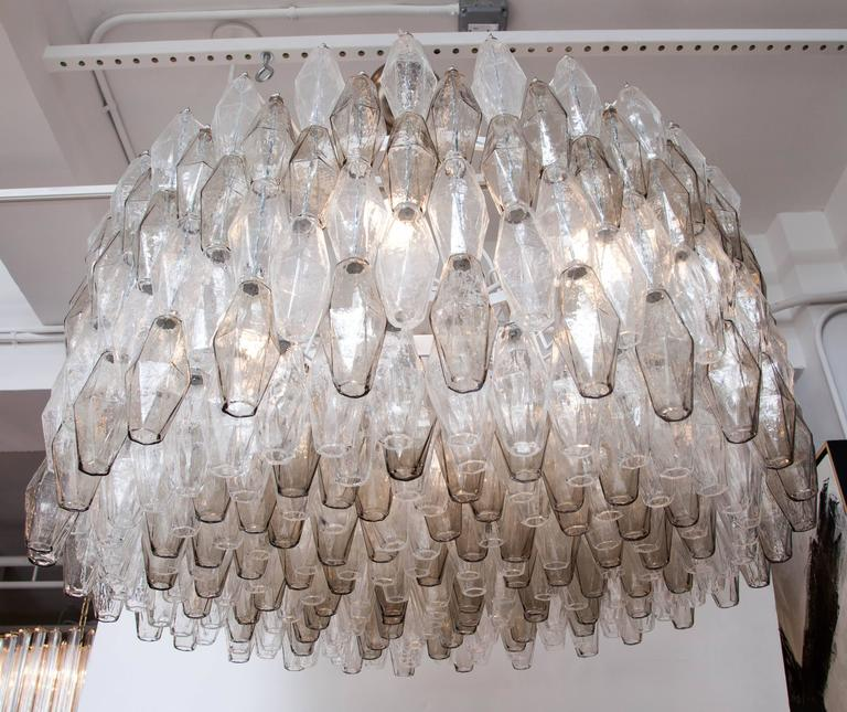 Large Venini Style Clear and Smoked Taupe Polyhedral Murano Glass Chandelier 4