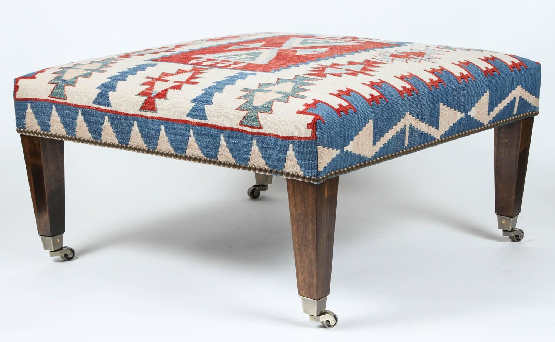 Vintage Kilim Rug Ottoman With Walnut Legs At 1stdibs