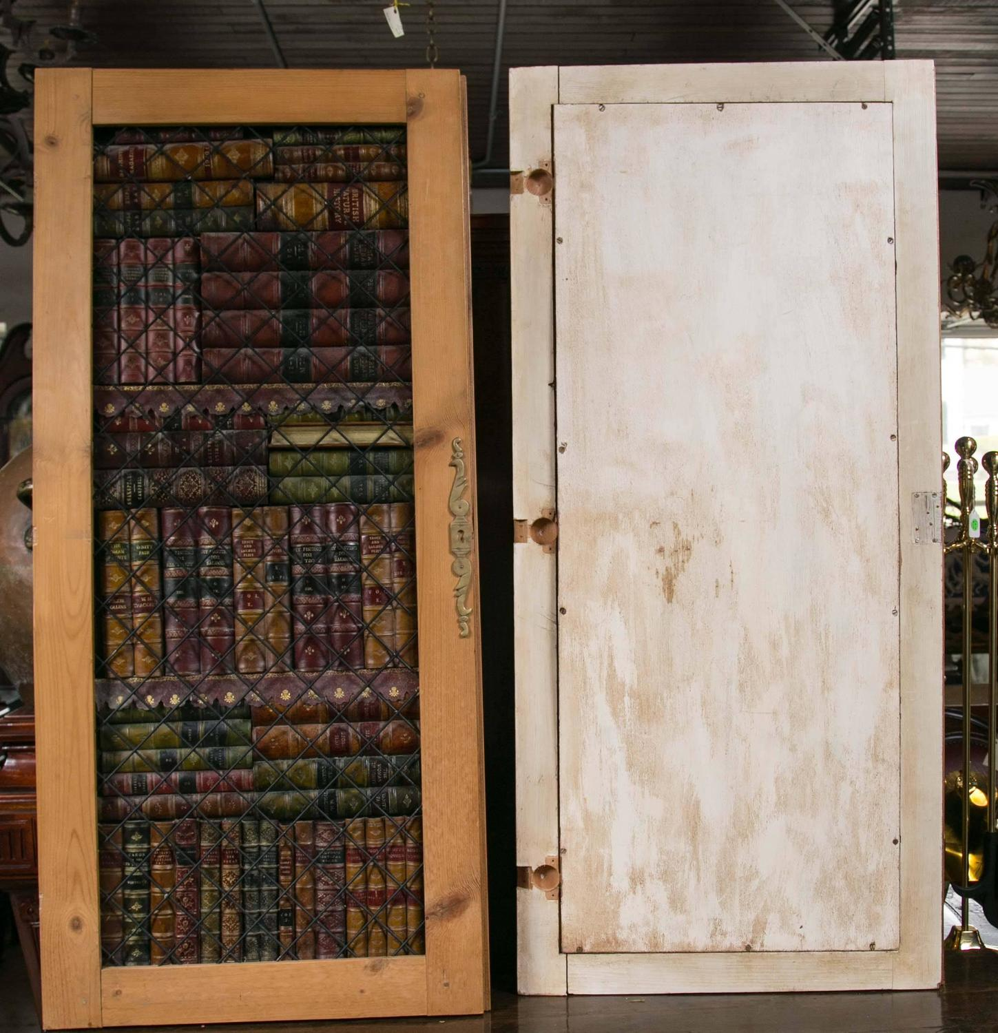 pair of faux book cabinet doors at 1stdibs. Black Bedroom Furniture Sets. Home Design Ideas