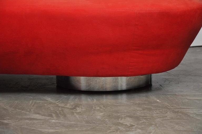 Vladimir Kagan Serpentine Sofa on Chrome Bases For Sale 1