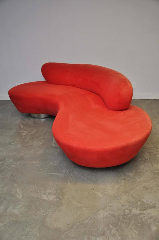 Serpentine sofa by Vladimir Kagan for Directional Furniture. Original red ultra suede upholstery.
