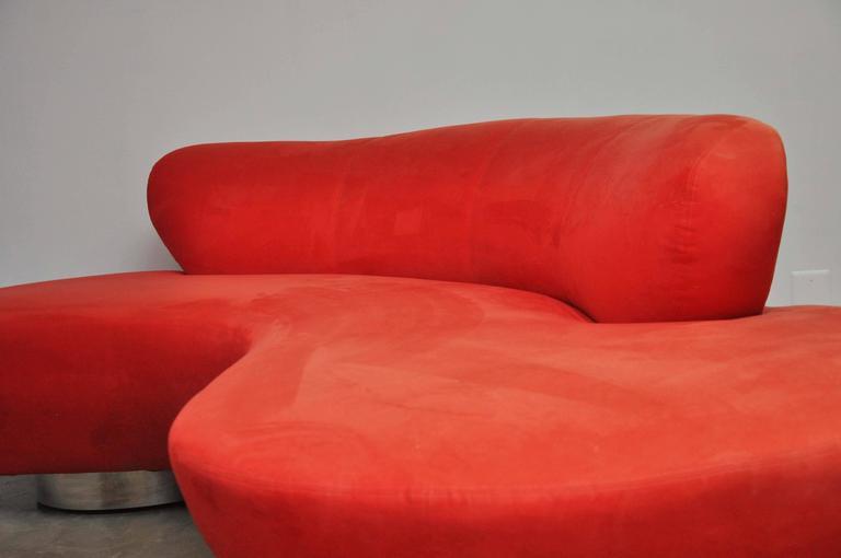 American Vladimir Kagan Serpentine Sofa on Chrome Bases For Sale