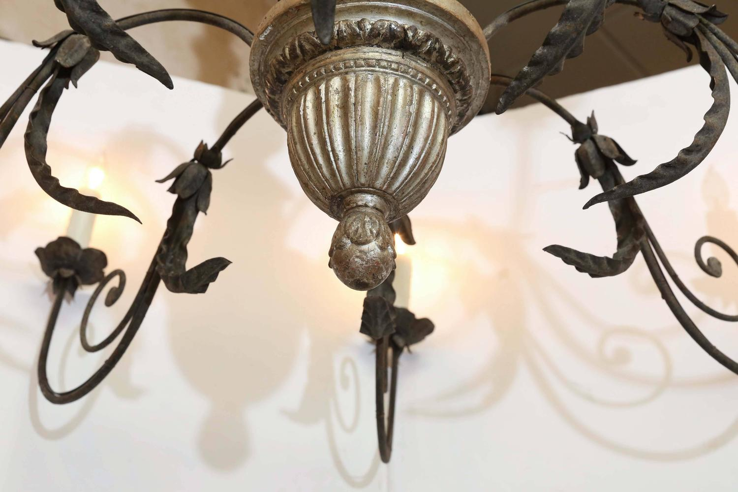 Italian Gilded And Iron Chandelier At 1stdibs