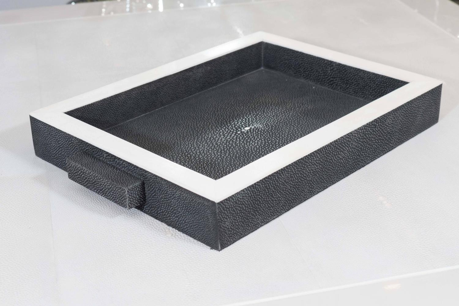 Onyx Trim Pieces : Onyx shagreen tray with bone trim for sale at stdibs