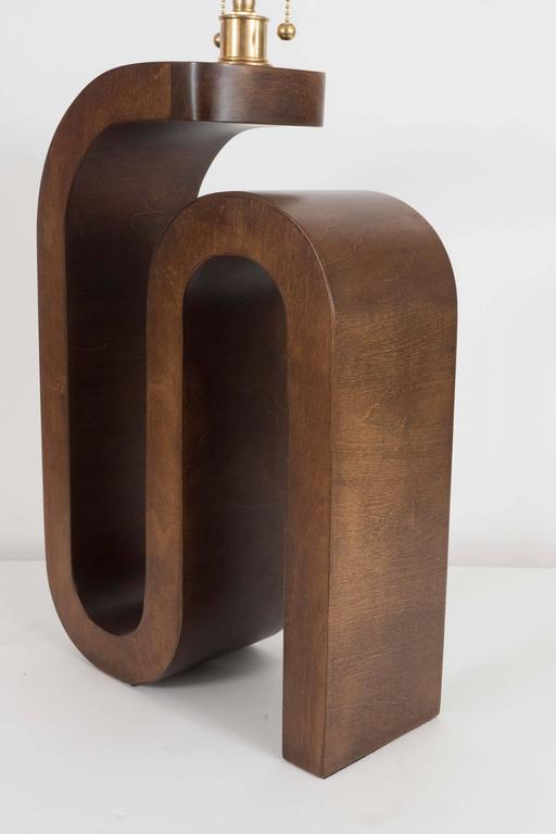 Pair of Curvilinear Wood Table Lamps For Sale 1