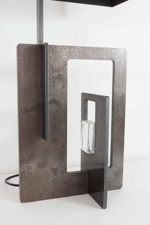 Mid-Century Modern Pair of Patinated Iron Lamps For Sale