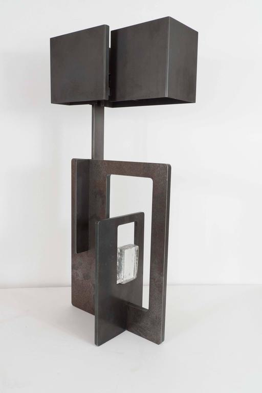 Pair of Patinated Iron Lamps In Good Condition For Sale In New York, NY