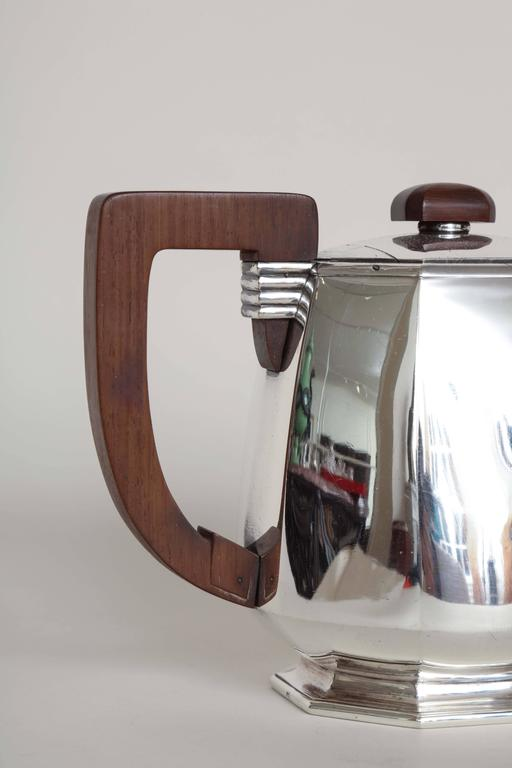 Rosewood Jean E. Puiforcat French Art Deco Tea and Coffee Sterling Silver Service For Sale