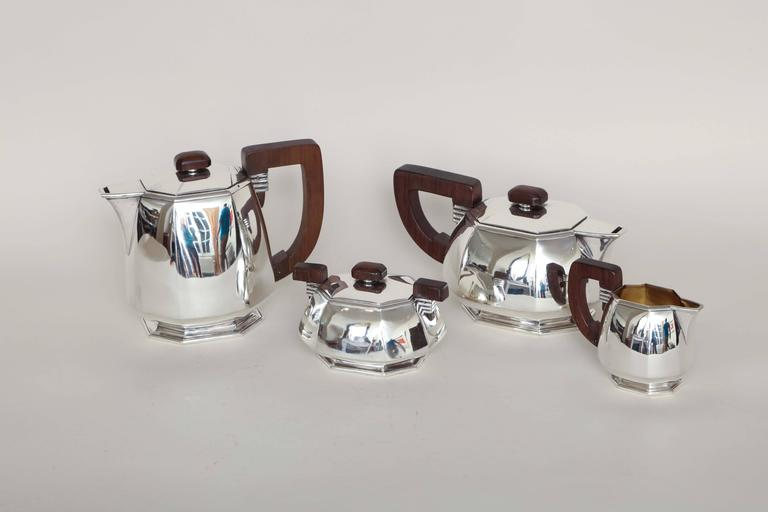 Jean E. Puiforcat French Art Deco Tea and Coffee Sterling Silver Service For Sale 2