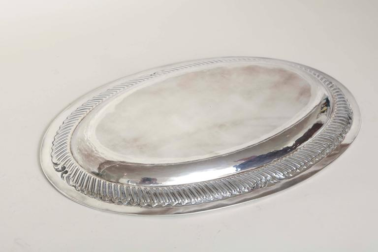 20th Century French Art Deco Large Oval Sterling Silver Tray For Sale