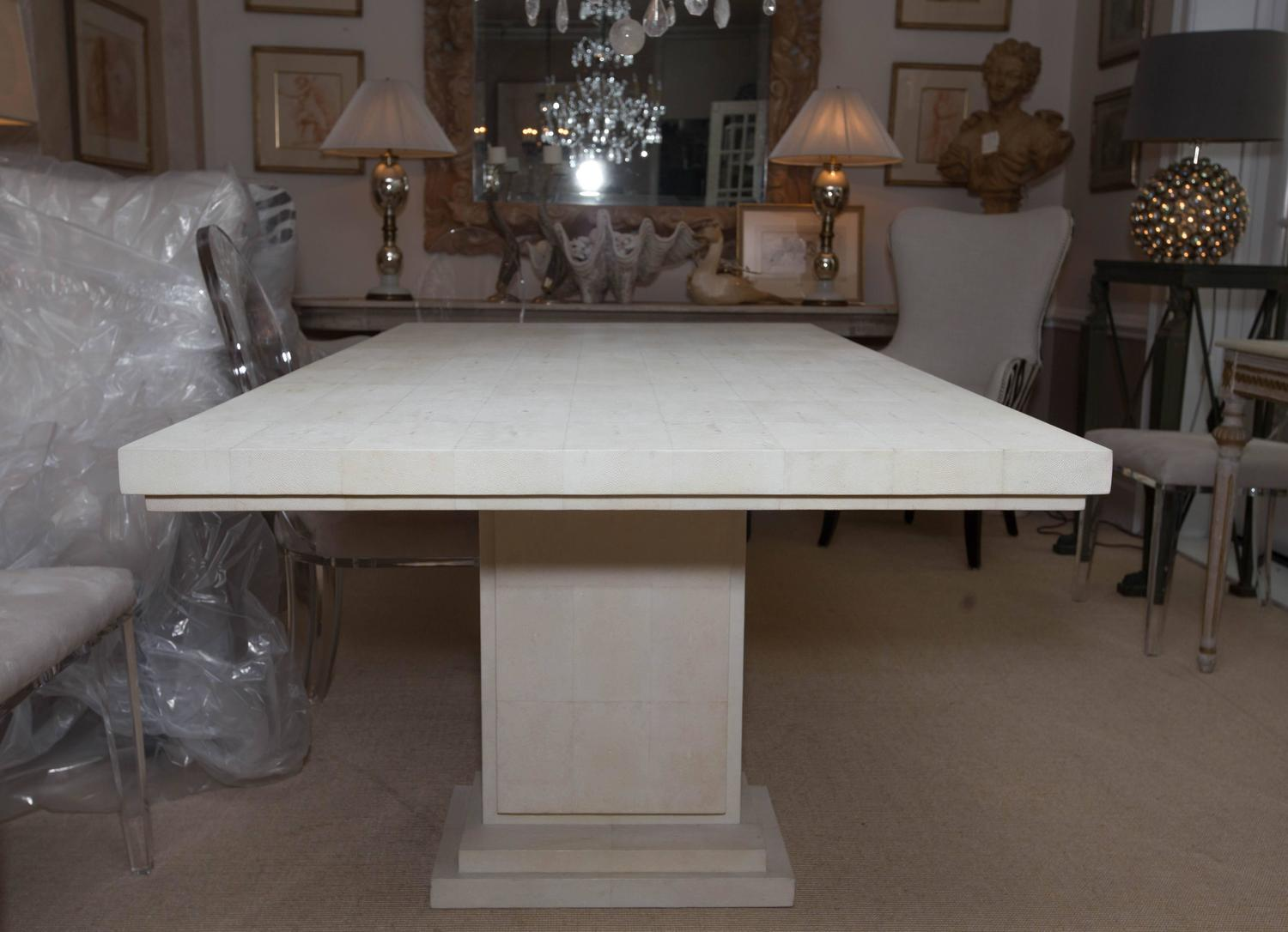 magnificent white shagreen double pedestal dining table at