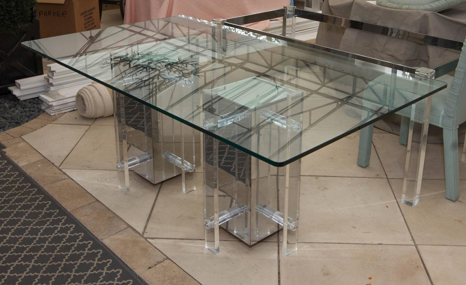 Very attractive and unusual mid century dining table with for Unusual dining table bases