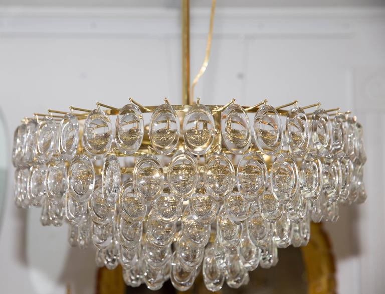 Tiered oval crystal lens element brass chandelier for sale at 1stdibs mid century modern tiered oval crystal mozeypictures Images