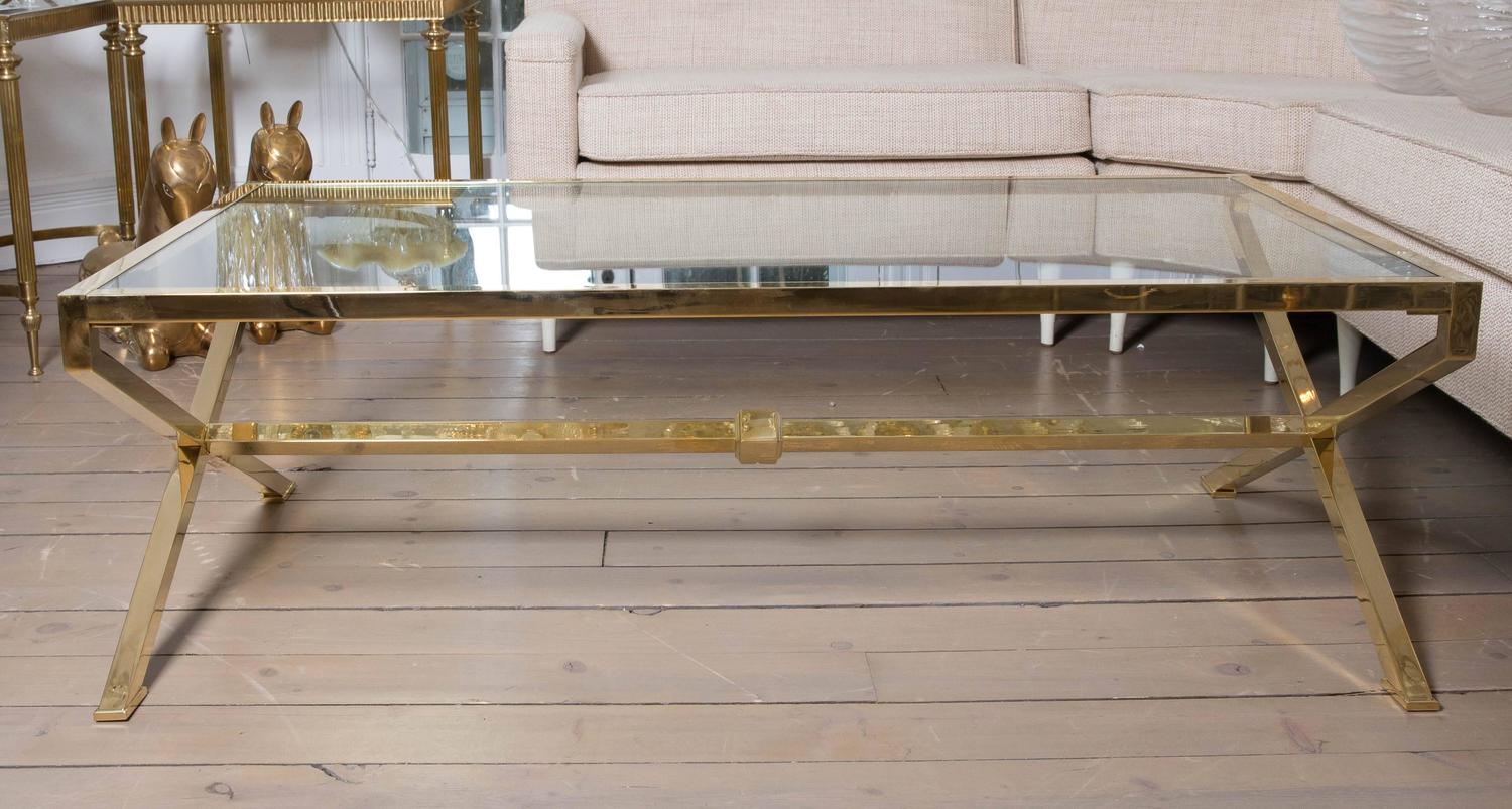brass and glass x base coffee table for sale at 1stdibs. Black Bedroom Furniture Sets. Home Design Ideas