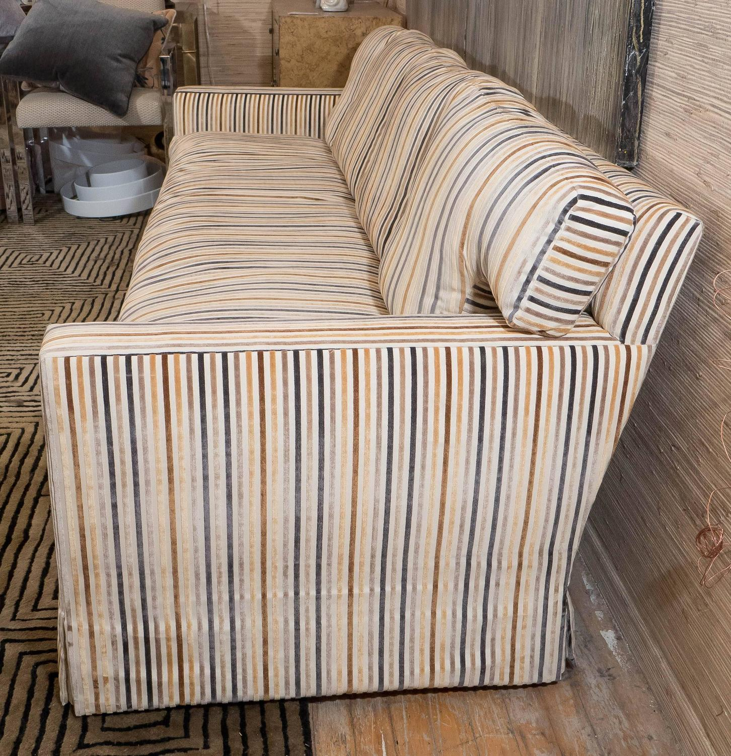 Sofas Used Sofas For Sale: Midcentury Down Sofa In Striped Cut Velvet For Sale At 1stdibs