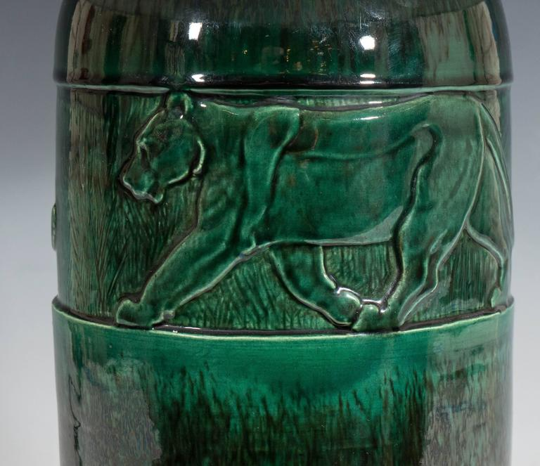 French René Meynial Art Deco Green Ceramic Lamp with Panther For Sale