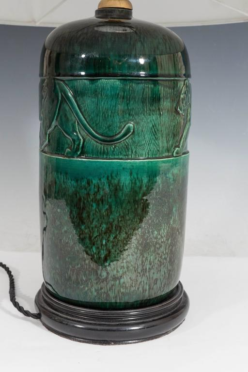 René Meynial Art Deco Green Ceramic Lamp with Panther In Excellent Condition For Sale In New York, NY