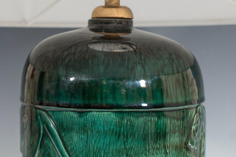 René Meynial Art Deco Green Ceramic Lamp with Panther For Sale 1