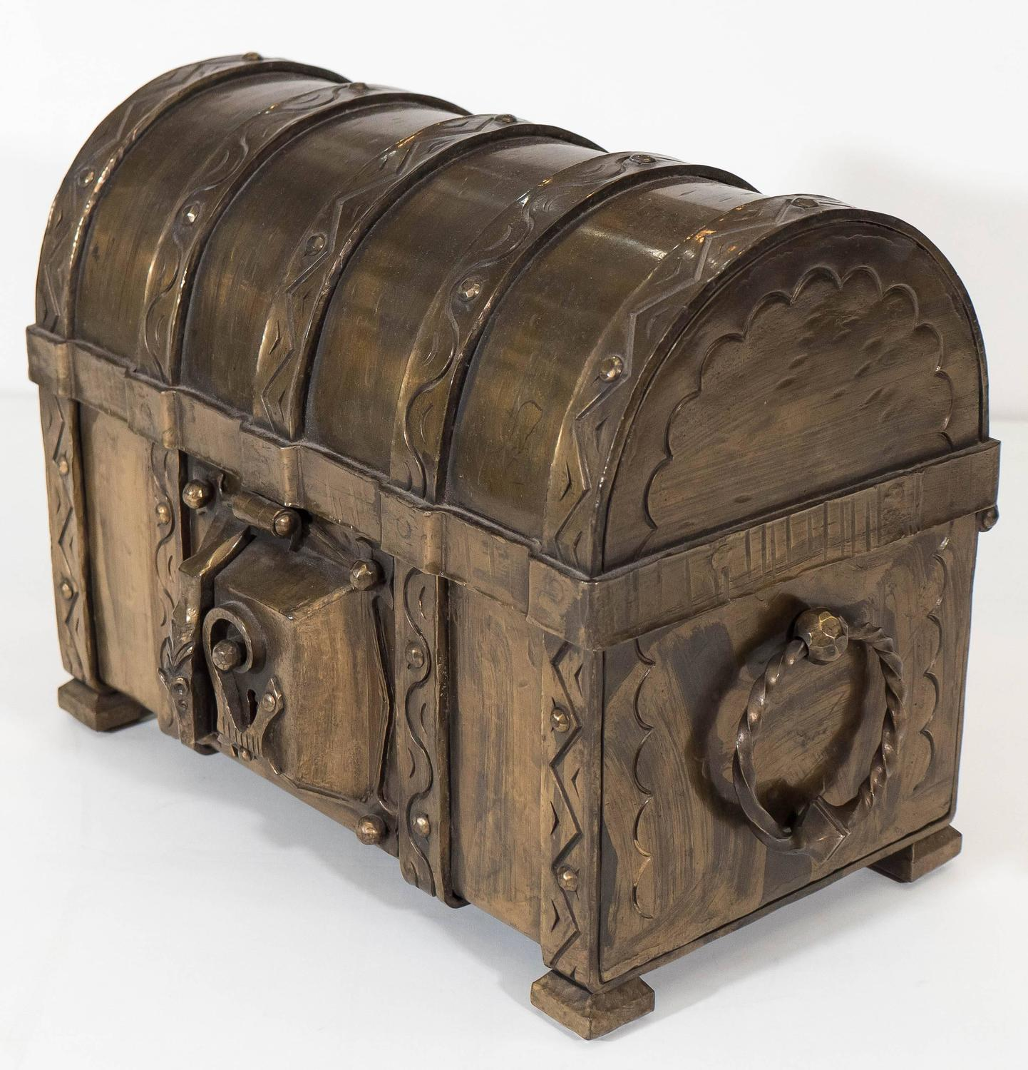 Decorative Boxes That Lock : Th century bronze locking strong box for sale at stdibs