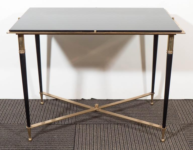 French Black Glass Top Side Table, In The Style Of Maison