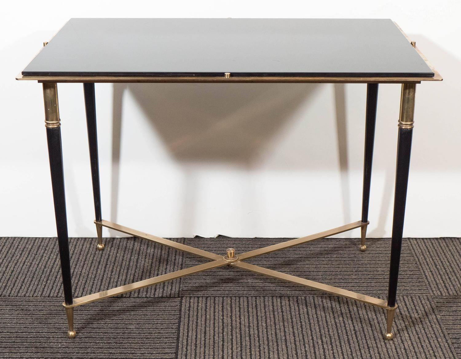 Black Glass Side Table Gumtree: French Black Glass Top Side Table, In The Style Of Maison