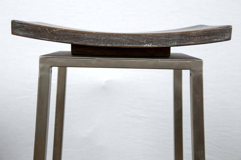 Set Of Two Modern Pagoda Shaped Chrome And Piape Wood Bar
