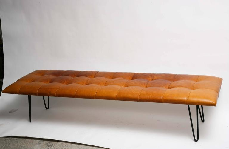 Mid Century Danish Modern George Nelson Style Hairpin Legs Leather Bench At 1stdibs