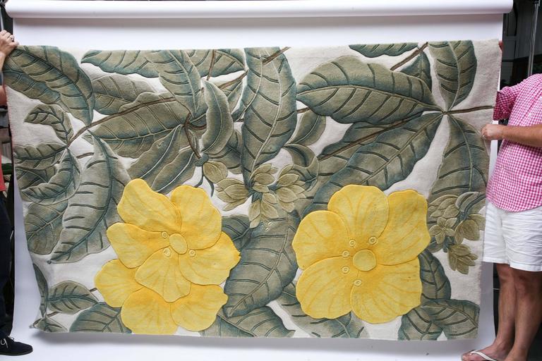 Handmade Tropical Themed Sculpted Wool Rug Hollywood
