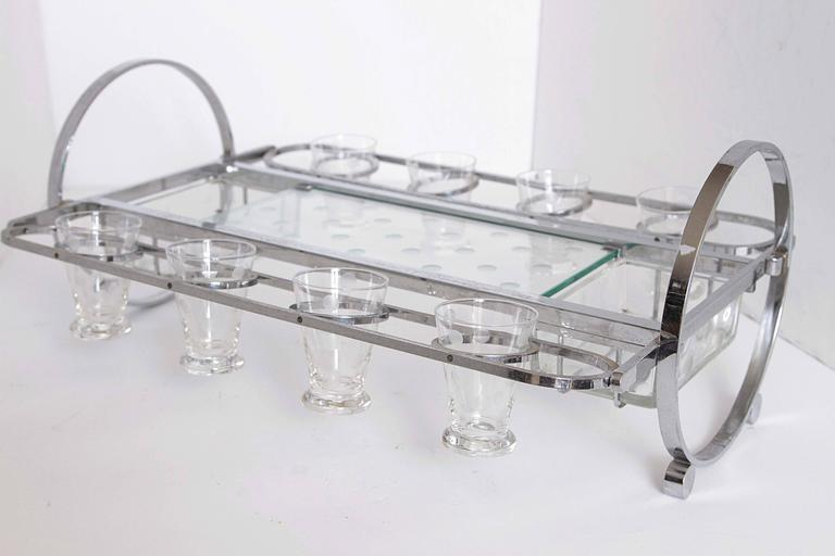 Complete Original Gyroscopic Machine Age Art deco Cocktail Serving Caddy For Sale 1